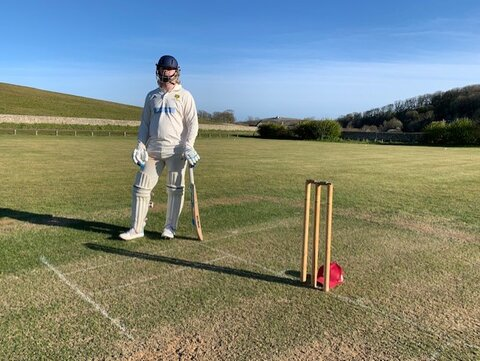 Paul Feist collects 'Life Presidents Award' at East Dean & Friston Cricket Club